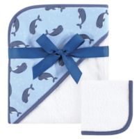 Hudson Baby® Narwhal Hooded Towel and Washcloth Set in Blue