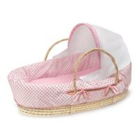 Badger Basket® Fabric Hooded Moses Basket in Pink