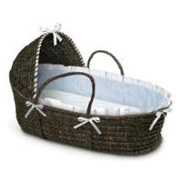 Badger Basket® Maize Hooded Moses Basket in Espresso with Blue Gingham Bedding