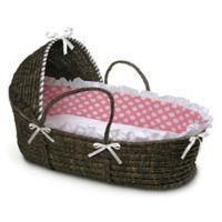 Badger Basket® Maize Hooded Moses Basket in Espresso with Pink Polka Dot Bedding