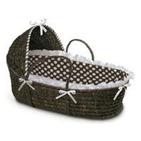 Badger Basket® Maize Hooded Moses Basket in Espresso with Brown Polka Dot Bedding
