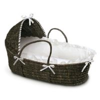 Badger Basket® Maize Hooded Moses Basket in Espresso with White Bedding