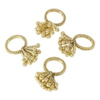 Saro Lifestyle Flower Napkin Rings in Gold (Set of 4)