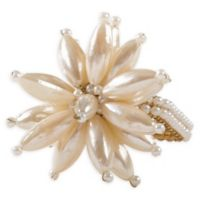 Saro Lifestyle Pearl Flower Napkin Rings in Ivory (Set of 4)
