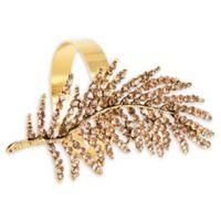 Saro Lifestyle Fern Leaf Design Napkin Rings in Gold (Set of 4)