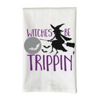 """Love You a Latte Shop """"Witches Be Trippin'"""" Kitchen Towel in White"""