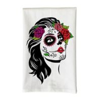 Love You a Latte Shop Day of The Dead Woman Kitchen Towel