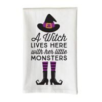 """Love You a Latte Shop """"A Witch Lives Here With Her Little Monsters"""" Kitchen Towel in White"""