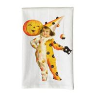 Love You a Latte Shop Vintage Halloween Clown Girl Printed Kitchen Towel in White