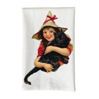 Love You a Latte Shop Vintage Girl with Black Cat Printed Kitchen Towel in White