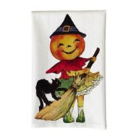 Love You a Latte Shop Vintage Halloween Girl Printed Kitchen Towel in White