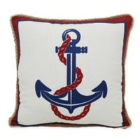 Anchor Indoor/Outdoor Square Throw Pillow in Red/Blue