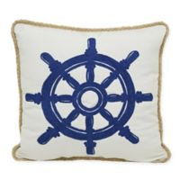 Crewel Ship's Wheel Indoor/Outdoor Square Throw Pillow in Blue/White