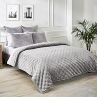 Ted Baker London Velvet Bow King Coverlet in Grey