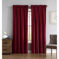 Truly Soft Everyday Pleated Velvet 84-Inch Window Curtain Panel Pair in Red