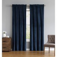Truly Soft Everyday Pleated Velvet 84-Inch Window Curtain Panel Pair in Navy