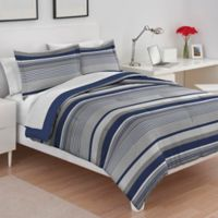 IZOD® Collegiate Stripe Reversible Twin/Twin XL Comforter Set in Grey/Blue