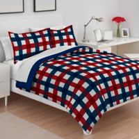 IZOD® Buffalo Check Reversible Twin/Twin XL Comforter Set in Red/Blue