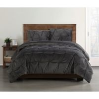Truly Soft Everyday Pleated Velvet Twin XL Comforter Set in Grey