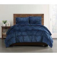 Truly Soft Everyday Pleated Velvet Full/Queen Comforter Set in Navy