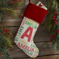 Repeating Name Personalized Christmas Stocking
