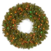 National Tree Company 36-Inch Norwich Fir Wreath with Multi-Colored Lights