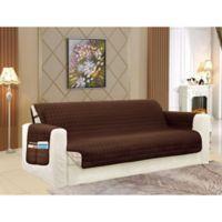 Smart Solid Microfiber Sofa Cover in Chocolate/Cream