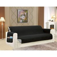 Smart Solid Microfiber Sofa Cover in Black/Grey
