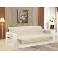 Smart Solid Microfiber Sofa Cover in Cream/Taupe