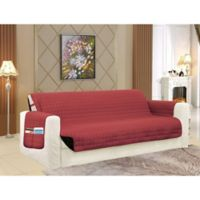 Smart Solid Microfiber Sofa Cover in Burgundy/Black