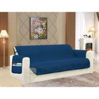 Smart Solid Microfiber Sofa Cover in Navy/Grey