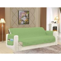 Smart Solid Microfiber Oversized Sofa Cover in Sage/Cream