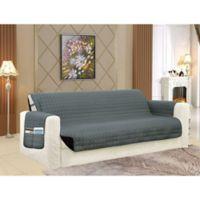 Smart Solid Microfiber Oversized Sofa Cover in Grey/Black