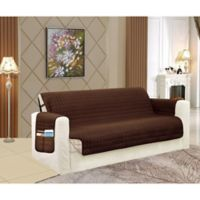 Smart Solid Microfiber Loveseat Cover in Chocolate/Cream