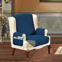 Smart Solid Microfiber Wing Chair Cover in Navy/Grey