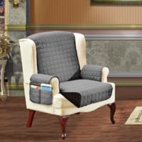 Smart Solid Microfiber Wing Chair Cover in Grey/Black