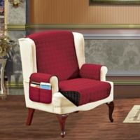 Smart Solid Microfiber Wing Chair Cover in Burgundy/Black