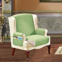 Smart Solid Microfiber Wing Chair Cover in Sage/Cream