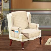 Smart Solid Microfiber Wing Chair Cover in Cream/Taupe