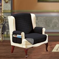 Smart Solid Microfiber Wing Chair Cover in Black/Grey