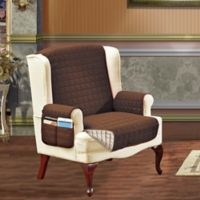 Smart Solid Microfiber Wing Chair Cover in Chocolate/Cream