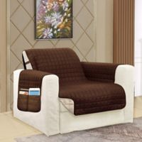 Smart Solid Microfiber Accent Chair Cover in Chocolate/Cream