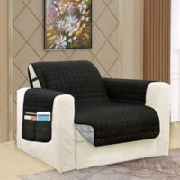 Smart Solid Microfiber Accent Chair Cover in Black/Grey