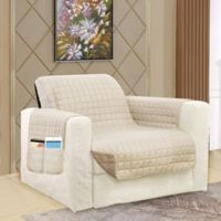 Smart Solid Microfiber Accent Chair Cover in Cream/Taupe