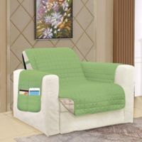 Smart Solid Microfiber Accent Chair Cover in Sage/Cream