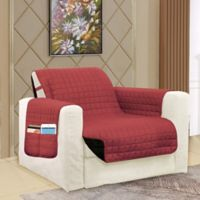 Smart Solid Microfiber Accent Chair Cover in Burgundy/Black