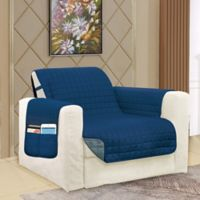 Smart Solid Microfiber Accent Chair Cover in Navy/Grey