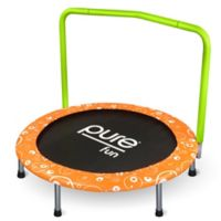 Pure Fun® Foldable Kids Trampoline with Handrail
