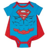 Warner Brothers® Superman® Size 3-6M Caped Bodysuit in Blue