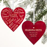 Close To Her Heart Message Personalized 2-Sided Wood Christmas Ornament in Red